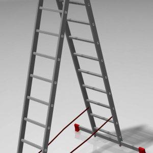 "Лестница ""Алюмет"" 2х7 ступ., алюм., двухсекционная"