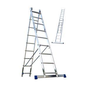 "Лестница ""Алюмет"" 2х 9 ступ., алюм., двухсекционная"